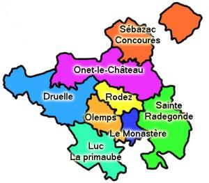 carte de la communauté d'agglomération du Grand Rodez